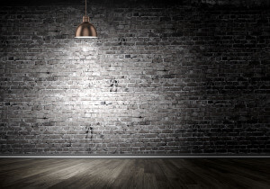 Modern Brick Wall with Hanging Lamp