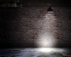 Brick Background with Overhanging Lamp
